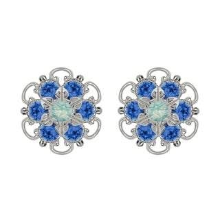 Lucia Costin Sterling Silver Mint Blue Crystal Earrings with Dots