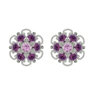 Lucia Costin Sterling Silver Lilac Violet Crystal Earrings with Fancy Dots