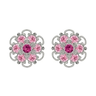 Lucia Costin Sterling Sterling Silver Fuchsia Light Pink Austrian Crystal Earrings