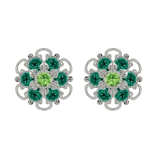Lucia Costin Sterling Silver Light Green Dark Green Crystal Earrings