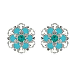 Lucia Costin Sterling Silver Turquoise Green Austrian Crystal Earrings