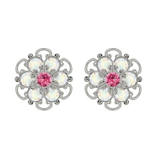Lucia Costin Sterling Silver Pink White Austrian Crystal Earrings with Dots