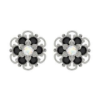 Lucia Costin Sterling Silver White and Black Crystal Earrings
