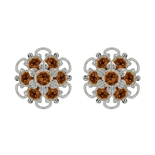 Lucia Costin Sterling Silver Brown Crystal Earrings