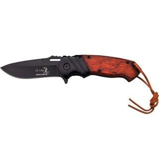 Elk Ridge 4.75-inch Folder Blk Blade Bolster Drk Brwnwood Handle