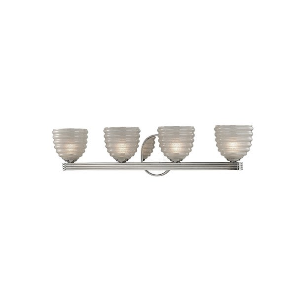 Hudson Valley Thorton 4-light Nickel Vanity with Clear Shade