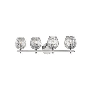 Hudson Valley Burns 4-light Nickel Vanity with Clear Shade