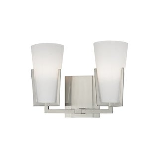 Hudson Valley Upton 2-light Satin Nickel Vanity with Frosted Shade