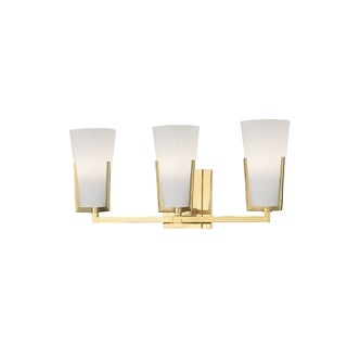 Hudson Valley Upton 3-light Brass Vanity with Frosted Shade