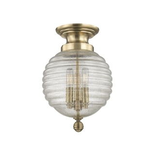Hudson Valley Coolidge 3-light Brass Flush Mount with Clear Glass Shade