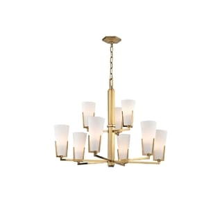 Hudson Valley Upton 9-light Brass Chandelier with Frosted Shade