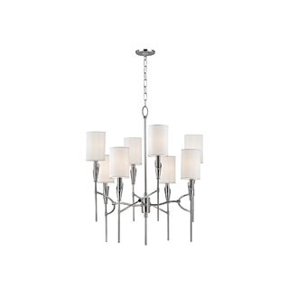 Hudson Valley Tate 8-light Nickel Chandelier with White Silk Shade