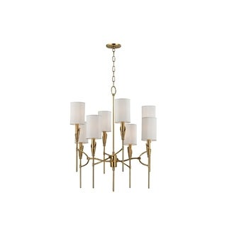 Hudson Valley Tate 8-light Brass Chandelier with White Silk Shade