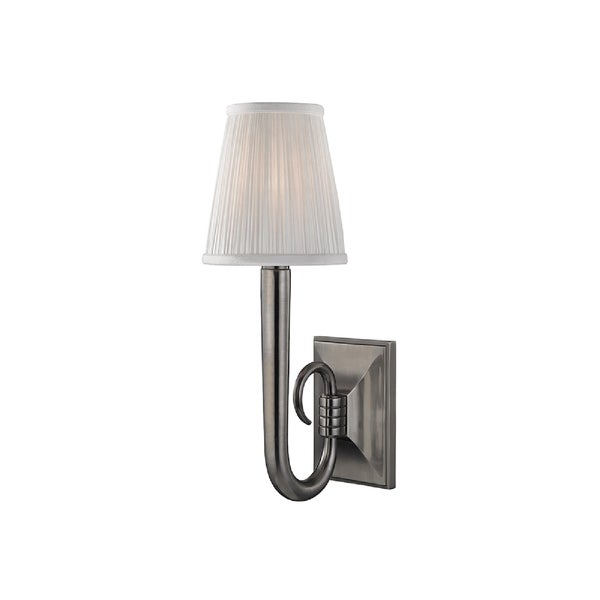 Hudson Valley Douglas 1-light Nickel Sconce with White Silk Shade