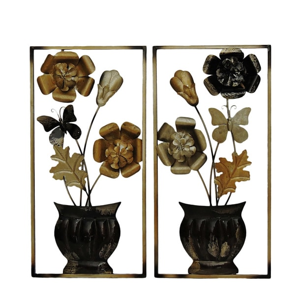 Shop Gallerie Décor Flowers in Pot Metal Wall Art (Set of 2) - Free ...