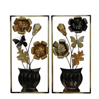Gallerie Décor Flowers in Pot Metal Wall Art (Set of 2)
