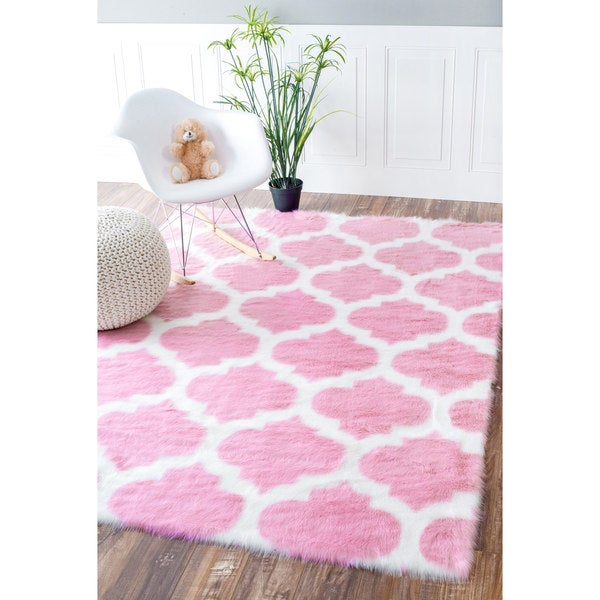 nuloom faux sheepskin solid soft and plush cloud trellis kids shag rug 5u0027 x 7u0027 free shipping today