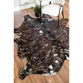 nuLOOM Handmade Leather Cowhide Brown Rug (5' x 7')