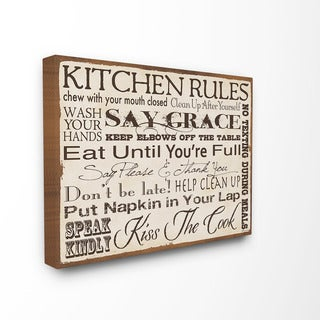 Stupell 'Kitchen Rules' Typography Canvas Wall Art