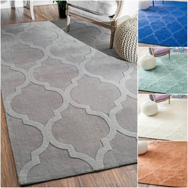 Nuloom Handmade Abstract Trellis Wool Rug 7 6 X 9 6