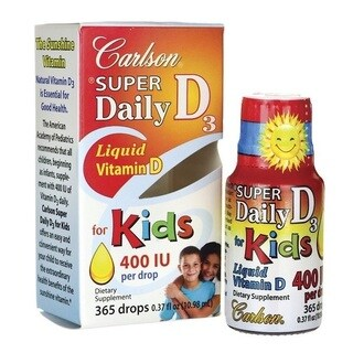 Carlson Super Daily D3 Liquid Vitamin D for Kids 400 IU (365 Drops)