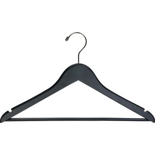 Black Wooden Suit Hanger with Bar (Box of 100)