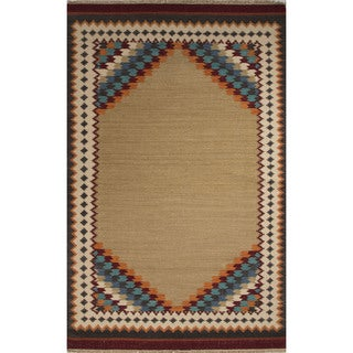 Flatweave Southwestern Oriental Pattern Warm sand/ Crème brulee (8' x 10') Area Rug