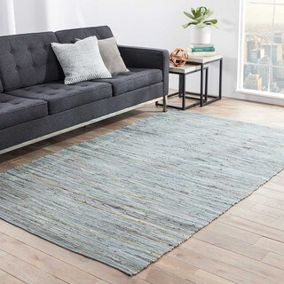 Havenside Home Bandon Handmade Solid Blue/ Grey Area Rug - 5' x 8'