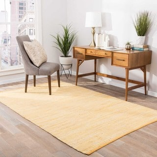 Handmade Casual Solid Pattern Buff yellow/ Buff yellow (5' x 8') Area Rug