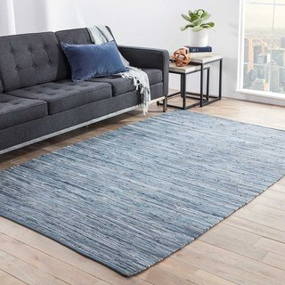 Havenside Home Bandon Handmade Solid Blue Area Rug - 5' x 8'