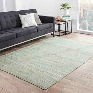 Kala Handmade Solid Green/ Blue Area Rug (5' X 8')