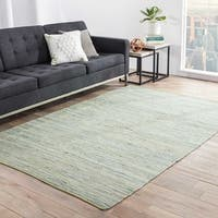 Havenside Home Bandon Handmade Solid Green/ Blue Area Rug - 5' x 8'