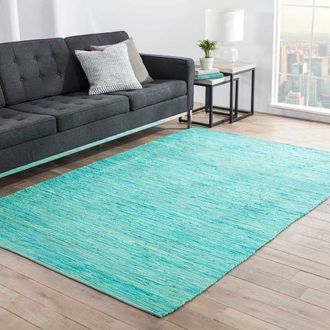 Porch & Den Renner Handmade Solid Blue/ Green Area Rug - 5' x 8'