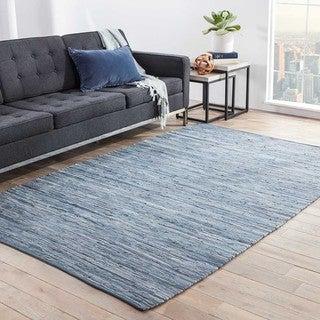 Kala Handmade Solid Blue Area Rug (8' X 10')