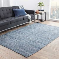 Havenside Home Bandon Handmade Solid Blue Area Rug - 9' x 12'