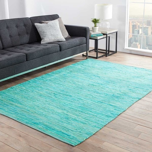 Havenside Home Bandon Handmade Solid Blue/ Green Area Rug - 8' x 10'