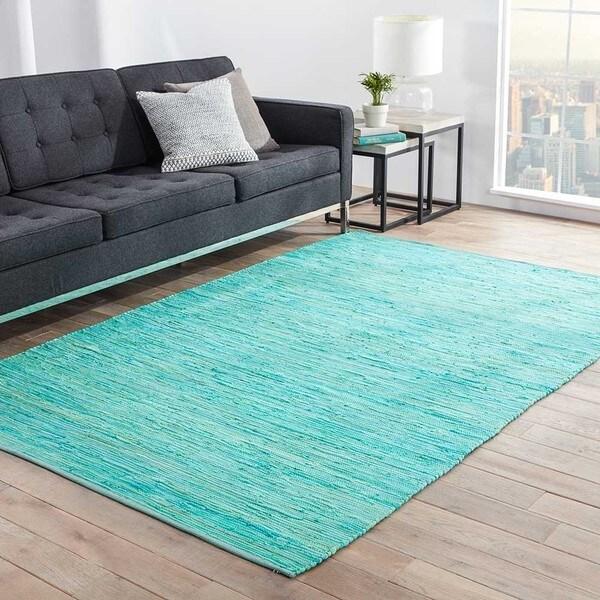 Kala Handmade Solid Blue/ Green Area Rug (9u0026#x27; ...