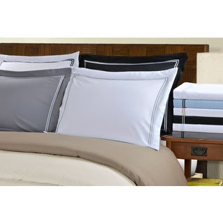 Superior Wrinkle Resistant Solid 2-Line Embroidery 3-piece Duvet Cover Set
