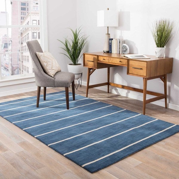 Fisher Handmade Stripe Blue/ Beige Area Rug - 8' x 10'