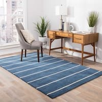 Fisher Handmade Stripe Blue/ Beige Area Rug (8' X 10') - 8' x 10'