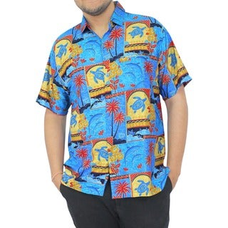 La Leela Blue Tropical Printed Aloha Hawaiian Beach Shirt For Men's