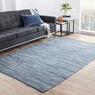 Kala Handmade Solid Blue Area Rug (4' X 6')