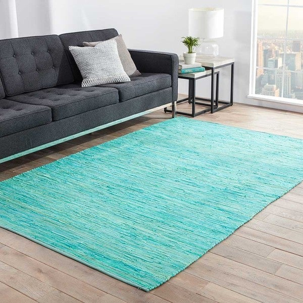 Havenside Home Bandon Handmade Solid Blue/ Green Area Rug (2' x 3') - 2' x 3'