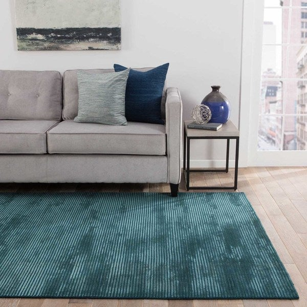 Phase Handmade Solid Blue Area Rug - 2' x 3'