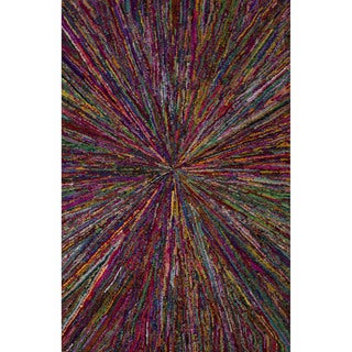 Hand-Tufted Formal Geometric Pattern Magenta/ Mars red (2' x 3') Area Rug