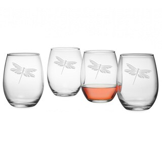 Dragonfly Stemless Wine Glasses (Set of 4)