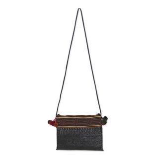 Handmade Natural Fibers Cotton 'Akha Wonder of Black' Shoulder Bag (Thailand)