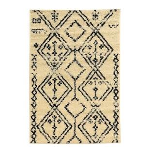 Linon Moroccan Fes Ivory/Black Rug (3' x 5')