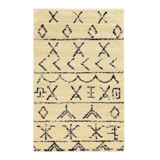 Linon Moroccan Atlas Ivory/ Black Rug (5' x 7')