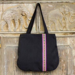 Cotton 'Lisu Rhythm' Shoulder Bag (Thailand)